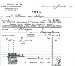 Nota van de firma Vosse, wagen- en carosseriebouw voor de firma Van Schagen + van Jac.Roest, Kanaalweg 9