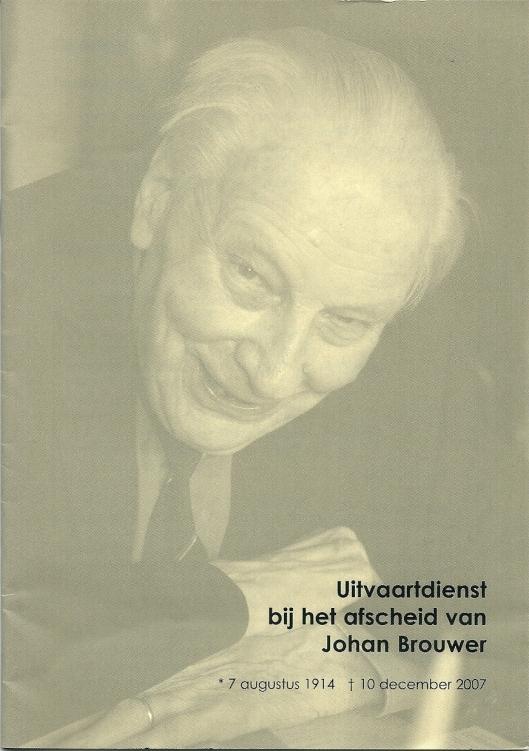 Vooromslag brochure uitvaartdienst Johan Brouwer