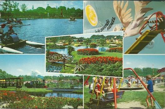 Oude kaart van de Linnaeushof, een speeltuin met meer dan 200 traditionele attracties