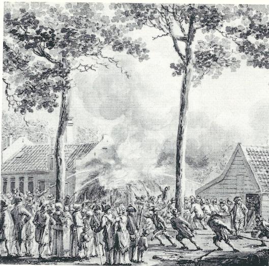 Het Maagdenhuis in de Haarlemmerhout. Vincent van der Vinne maakte een tekening van deze herberg van de brand die in 1788 uitbrak. In 187s is het Maagdenhuis gesloopt (Noord-Hollands Archief)