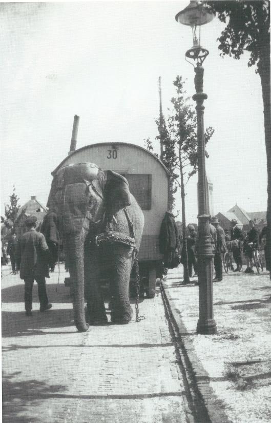 Een reizend circus nabij de Molenlaan op een foto van Leonard Baruch uit omstreeks 1930. Schuin achter de lantaarnpaal is de toren van de Onze Lieve Vrouw Hemelvaartkerk zichtbaar