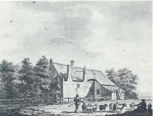 Tekening van boerderij 'Overthoorn' door P.van Loo, 1774 (Noord-Hollands Archief)