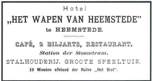Advertentie van hotel-restaurant-café begin 20ste eeuw toen men ook nog over een speeltuin beschikte.