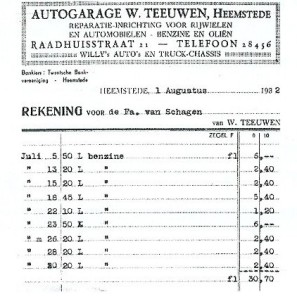 Nota van autogarage Teeuwen in de Raadhuistraat