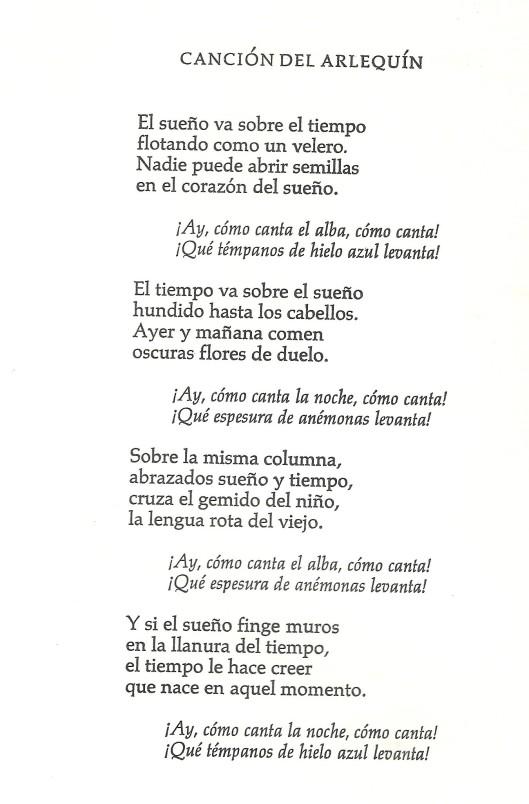 Spaanse tekst van Garcia Lorca