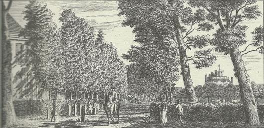 'De Hofstede Leeuw-en-Hooft aan het Krayenest. Gravure van Hendrik Spilman, 1762
