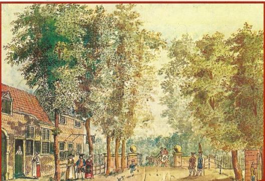 Herberg Oud Rome op de grens van Crayenest en Haarlemmerhout, door V.A.Clemens, 1770 (NHA)