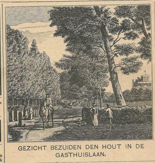 Gezicht bezuiden den Hout in de Gasthuislaan. [Op de achtergrond Leeuw en Hooft, nu Jacob in de Hout]. Zondagsblad, 27 mei 1911.