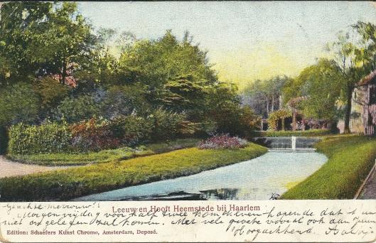 Leeuw en Hooft op een prentbriefkaart uit omstreeks 1910