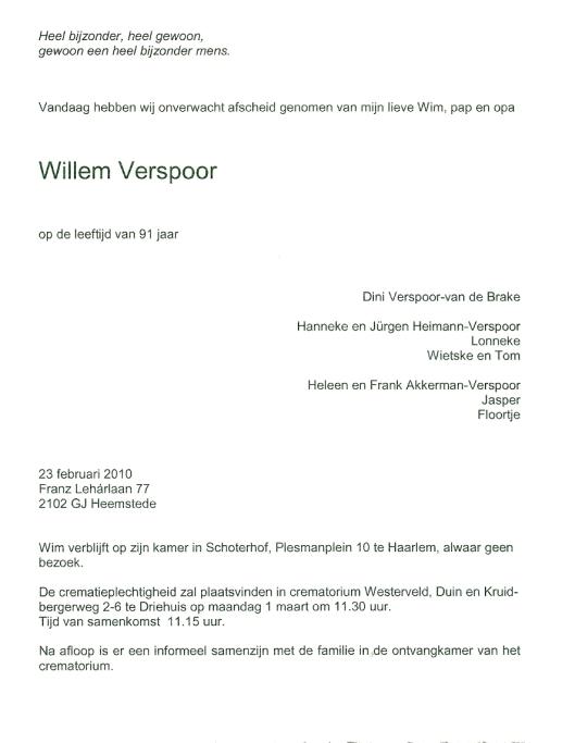 Rouwbericht Wim Verspoor