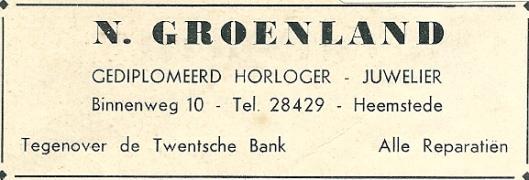 Advertentie van horloger N.Groenland uit 1937