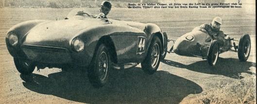 Lex Beels in zijn kleine Cooper achter de grote Ferrari van Dries van der Loft. Uit een artikel in Revue van 14 december 1957: ''t gaat niet alleen om snelheid!'