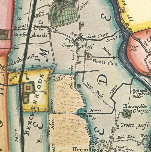 De ligging van Berckenrode op de kaart van M.Bolstra (1687/1746)