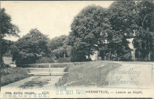 Leeuw en Hooft met uitrijdende koets op een 29 mei 1908 door P.H.Zweers vanuit Heemstede verzonden kaart aan de familie Schild in Nieuwe Niedorp