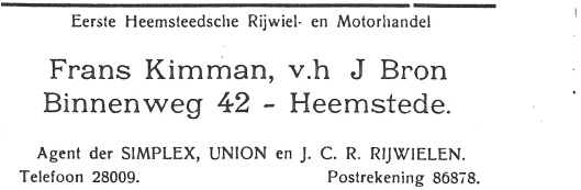 Adv. uit 1927 van Eerste Heemsteedsche Rijwiel- en Motorhandel Frans Kimman, vh. J.Bron