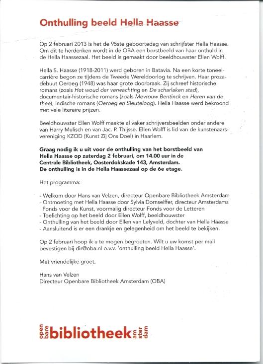 Uitnodiging onthulling Hella Hasse borstbeeld in OBA, 2-2 om 2 uur