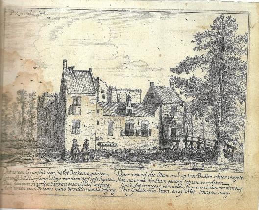 Het in 1573 ten dele verwoeste kasteel Berkenrode op een ets van Pieter Saenredam uit 1628.