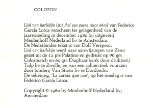 Colofon bij 'Lied van harlekijn'