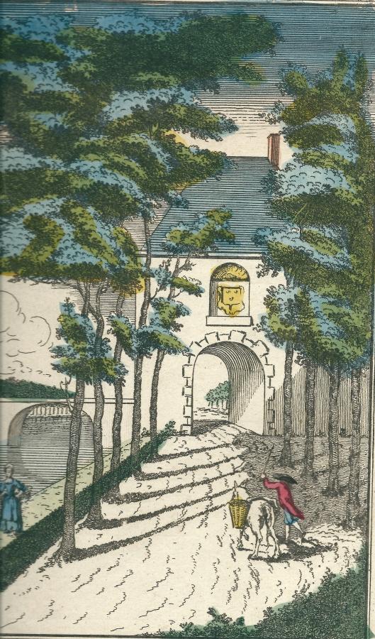 Rechterdeel van opticaprent Basset (1780) met de poort en brug naar kasteel Heemstede