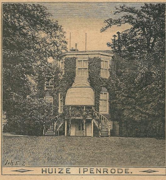 Heemstede Huize Ipenrode, achterzijde. Zondagsblad, 19 juli 1909