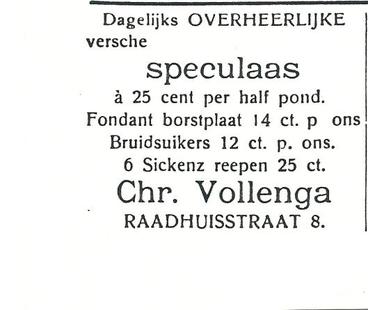 Adv, Chr. Vollenga, Raadhuisstraat 8 Heemstede uit 1927