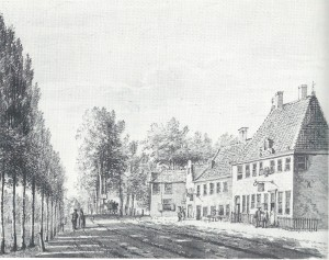 De herbergen Amsterdam, later Oostenhout genoemd, en Rustenburg, getekend door Pieter van Loo in 1768