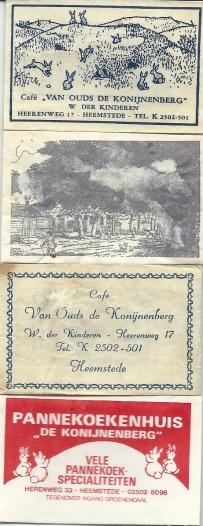 Enkele voorbeelden van in de loop van de tijd verschenen suikerzakjes van café/ pannekoekenhuis 'de Konijnenberg'