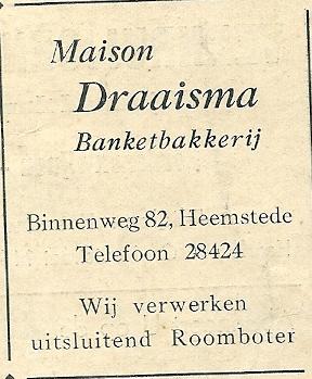 Advertentie Maison Draaisma, banketbakkerij Heemstede uit 1937