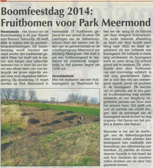 Fruitbomen voor Meermond in 2014. Uit: de Heemsteder van 12 maart 2014