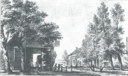 'Aan het Posthuis onder Berkenrode' Anonieme 18e eeuwse tekening (Noord-Hollands Archief)