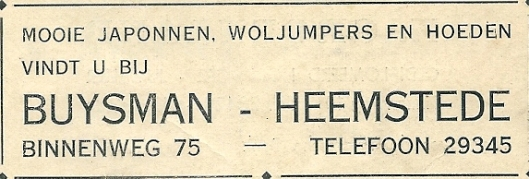 Advertentie Buysman, Binnenweg 75 Heemstede (1937)
