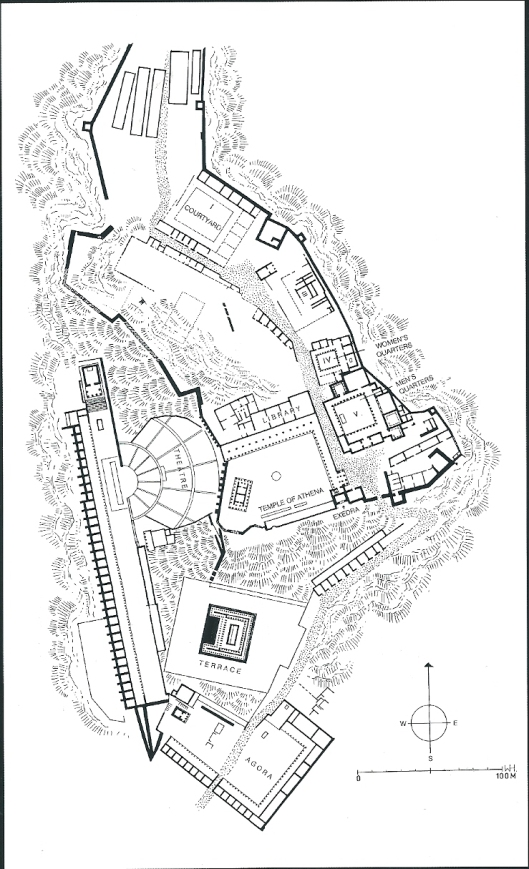 Plattegrond van klassie Pergamum (Pergamon). Uit: K.P.Staikos, Thev history of the library in Western civilization. 1, 2004.