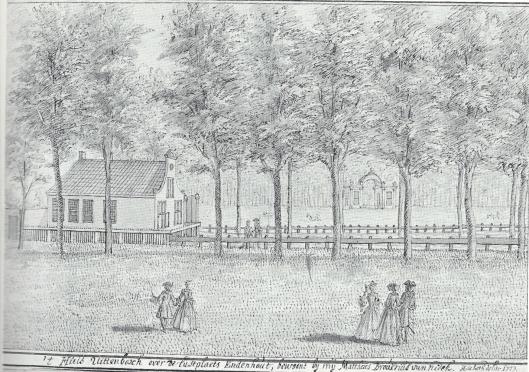 Buitenplaats Uit den Bosch in 1727 door Hendrik de Leth getekend. Tot 1711 was op deze plaats herberg het Vosje gevestigd.