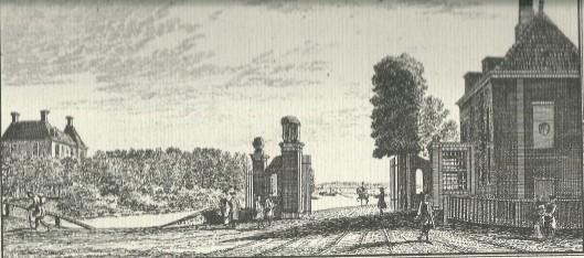 'Het Tol-hek aan de Leidse Vaart' Links het huis Berkenrode. Gravure Gravure door H.Spilman, 1763
