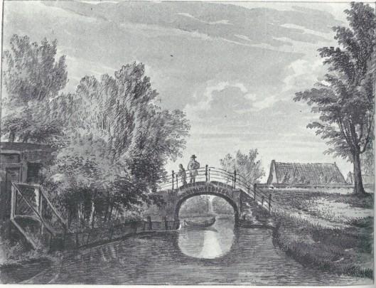 Glippervaart (Princezandvaart) in de Glip. Tekening van P.van Loo, 1768 (N.H.A.)