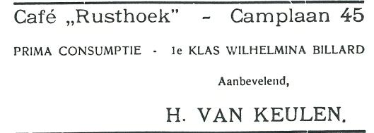 Advertentie van café Rusthoek, Camplaan 45 Heemstede, toen beheerd door H.van Keulen