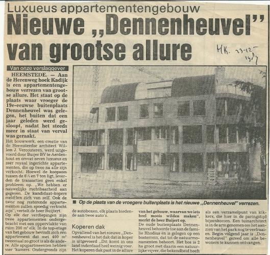 Het nieuwe Dennenheuvel als appartementencomplex. Bericht uit de Heemsteedse Koerier van 23-12-1987