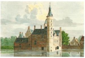 Tekening van H.de Winter uit omstreeks 1750 van het oude slot nog in volle glorie. In 1810 is het kasteel zelf gesloopt in tegenstelling tot de bijgebouwen