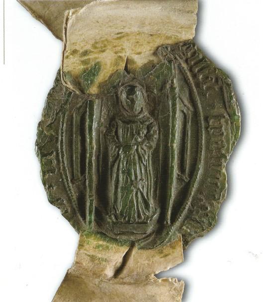 Priorzegel van de Hemelpoort met afbeelding van een monnik. Het zegel is van Willem Aertszoon van Utrecht, de akte uit 1565 (NHA)