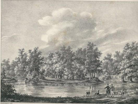 'Gezigt in de Vogelezang' Steendruk P.J.Lutgers, circa 1842