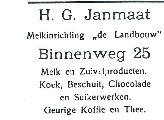 Advertentie uit 1927 van H.G.Janmaat, Binnenweg 25 Heemstede