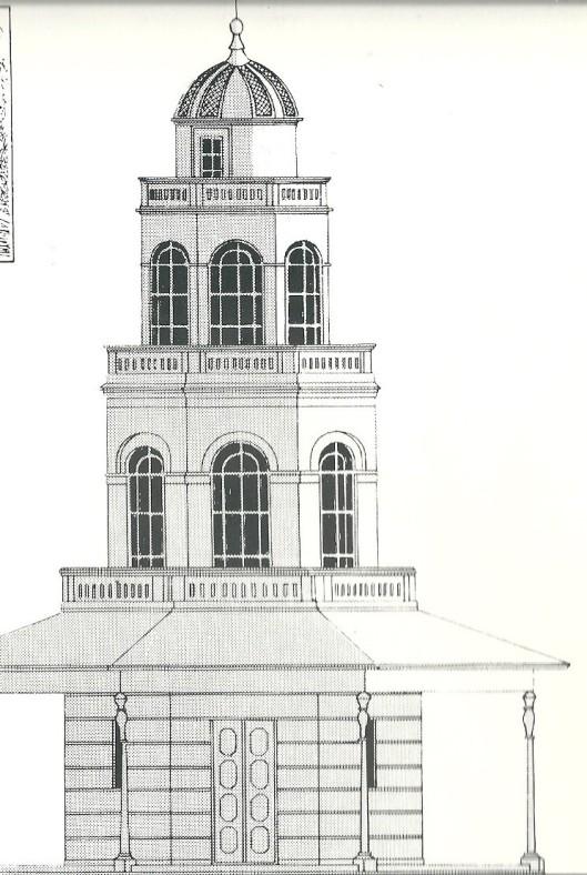 Het vanwege de kosten niet uitgevoerde plan om de Belvédère met 1 etage te verhogen, waardoor weer uitzicht mogelijk zou zijn geweest,