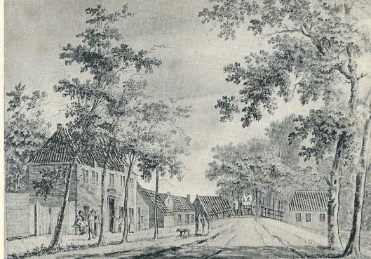 Het Wees- en Armhuis nabij de Zandvaartbrug. Tekening van P. van Loo, 1768 (Verz. Noord-Hollands Archief)