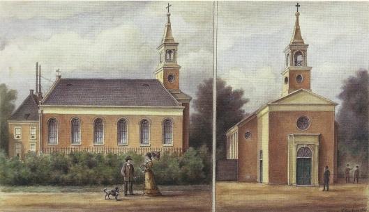 De oude kerk van Berkenrode verbeeld door P.van Loon in 1881. De R.K.kerk St. Bavo is gebouwd in 1817, vergroot in 1837 en gesloopt in 1880