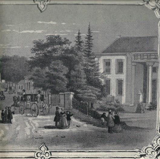 Deel van litho 'koffieprent' uit 1863 met 'Gezigt te Bloemendaal, een uur afstands van Haarlem'met rechts het huis Sparrenheuvel