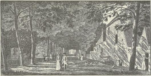 'Gezigt uit het Menniste Boschje by het Maagdenhuis, na de Kleine Houtweg. Gravure door Hendrik Spilman, 1762