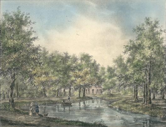 Ingekeurde litho van 'Gezigt over de vyver in 't Manpad' (P.J.Lutgers, circa 1842)