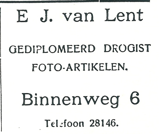 Adv. van drogisterij E.J.van Lent uit 1927