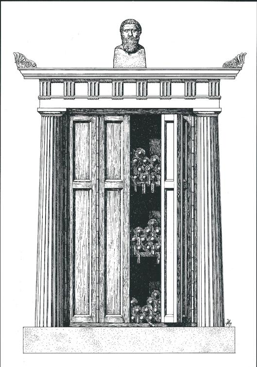 Reconstructietekening van een gesloten boekenkast in de Pergamum-bibliotheek. Tekening door W.Hoepfner. Uit: K.S.Staikos, I, 2004, p.289.