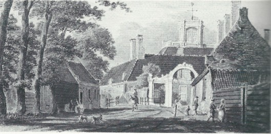 Aquarel van Hendrik Spilman uit 1763 met buurtschap Crayenest. Over de brug het hoofdgebouw van Leeuw en Hooft. Rechts de herberg Rosendael vh. Emaus